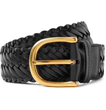 Tom Ford | 4cm Black Woven Leather Belt | Clouty