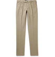 Incotex | Pleated Brushed Stretch-cotton Trousers | Clouty