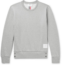 Thom Browne | Stripe-trimmed Loopback Cotton-jersey Sweatshirt | Clouty