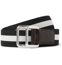 MONCLER | 3.5cm Leather-trimmed Striped Webbing Belt | Clouty