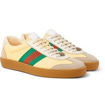 GUCCI | Webbing-trimmed Leather And Suede Sneakers | Clouty