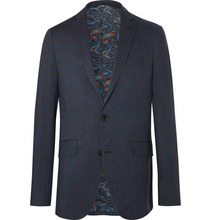 Etro | Navy Slim-fit Paisley-print Wool Suit Jacket | Clouty