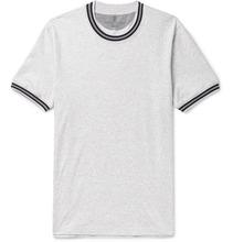Brunello Cucinelli | Slim-fit Stripe-trimmed Melange Cotton-jersey T-shirt | Clouty