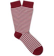 Sunspel   Striped Stretch Cotton-blend Socks   Clouty