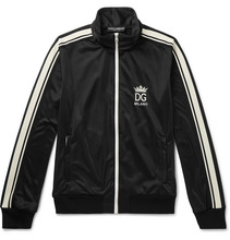 Dolce & Gabbana | Logo-embroidered Striped Tech-jersey Track Jacket | Clouty