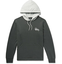 Stussy | Two-tone Logo-print Loopback Cotton-jersey Hoodie | Clouty