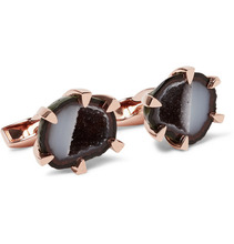 Tateossian | Rose Gold-plated Geode Cufflinks | Clouty