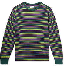 Pop Trading Company   Alpine Logo-embroidered Striped Cotton-jersey T-shirt   Clouty