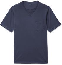 Hanro | Poplin-trimmed Cotton-jersey T-shirt | Clouty