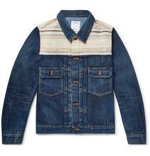 VISVIM   Striped Boucle-trimmed Denim Jacket   Clouty