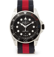 GUCCI | Gucci Dive Stainless Steel And Webbing Watch | Clouty