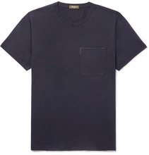 Berluti   Leather-trimmed Cotton-jersey T-shirt   Clouty