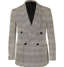 Ralph Lauren | Slim-fit Double-breasted Prince Of Wales Checked Silk Tuxedo Jacket | Clouty