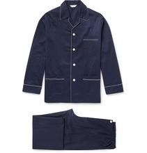 Derek Rose | Royal Pin-dot Cotton-jacquard Pyjama Set | Clouty