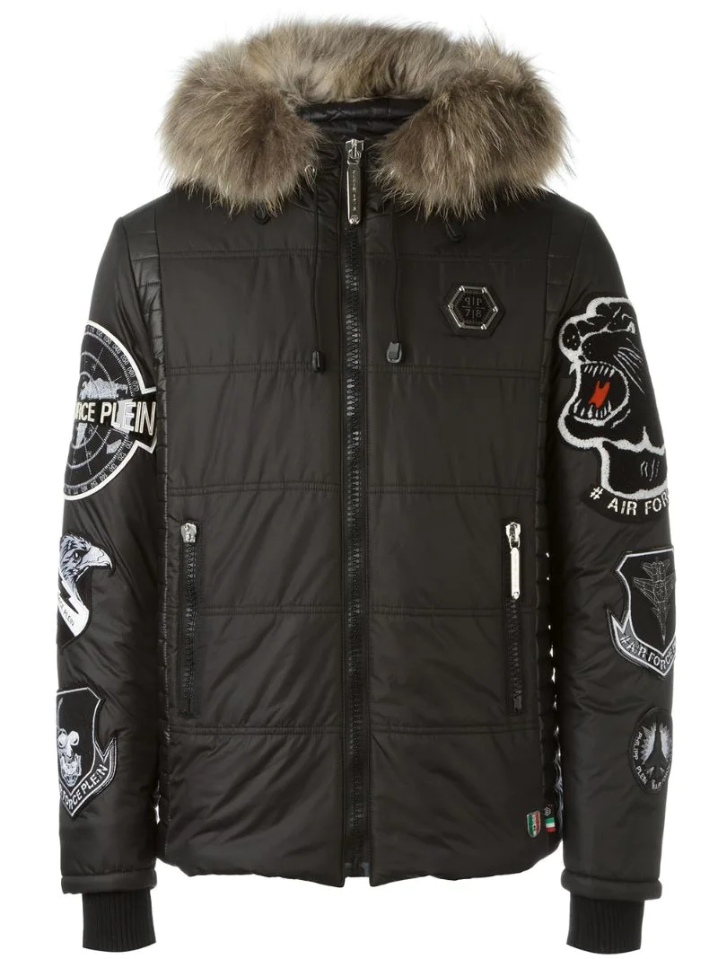 Philipp Plein   Чёрный стеганая куртка с нашивками Philipp Plein   Clouty  ... 280b6fc2f9c
