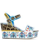 Dolce & Gabbana | босоножки на платформе с комбинированным принтом | Clouty