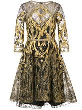 Marchesa Notte   сетчатое платье металлик с вышивкой   Marchesa Notte   Clouty