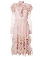 Blumarine | платье с шарфом и отделкой перьями  Blumarine | Clouty
