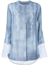 Ermanno Scervino   рубашка без воротника с кружевными панелями Ermanno Scervino   Clouty