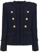 BALMAIN | твидовый пиджак без воротника в стиле милитари  Balmain | Clouty
