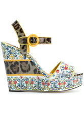 Dolce & Gabbana | босоножки на танкетке с принтом Majolica | Clouty