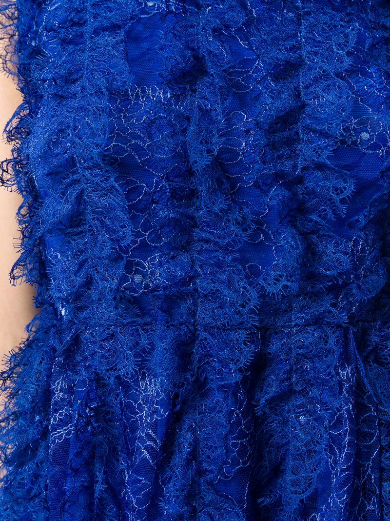 GIVENCHY | Синий кружевное платье без рукавов с оборкой  Givenchy | Clouty