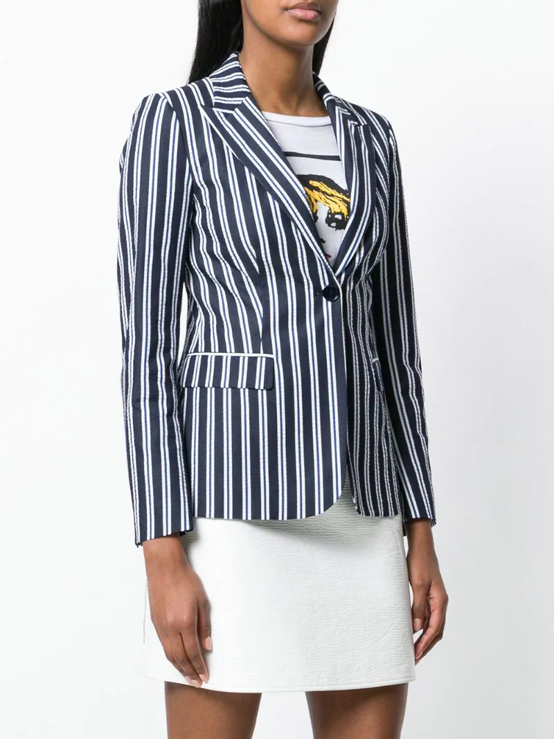 P.A.R.O.S.H. | Синий striped fitted blazer P.A.R.O.S.H. | Clouty
