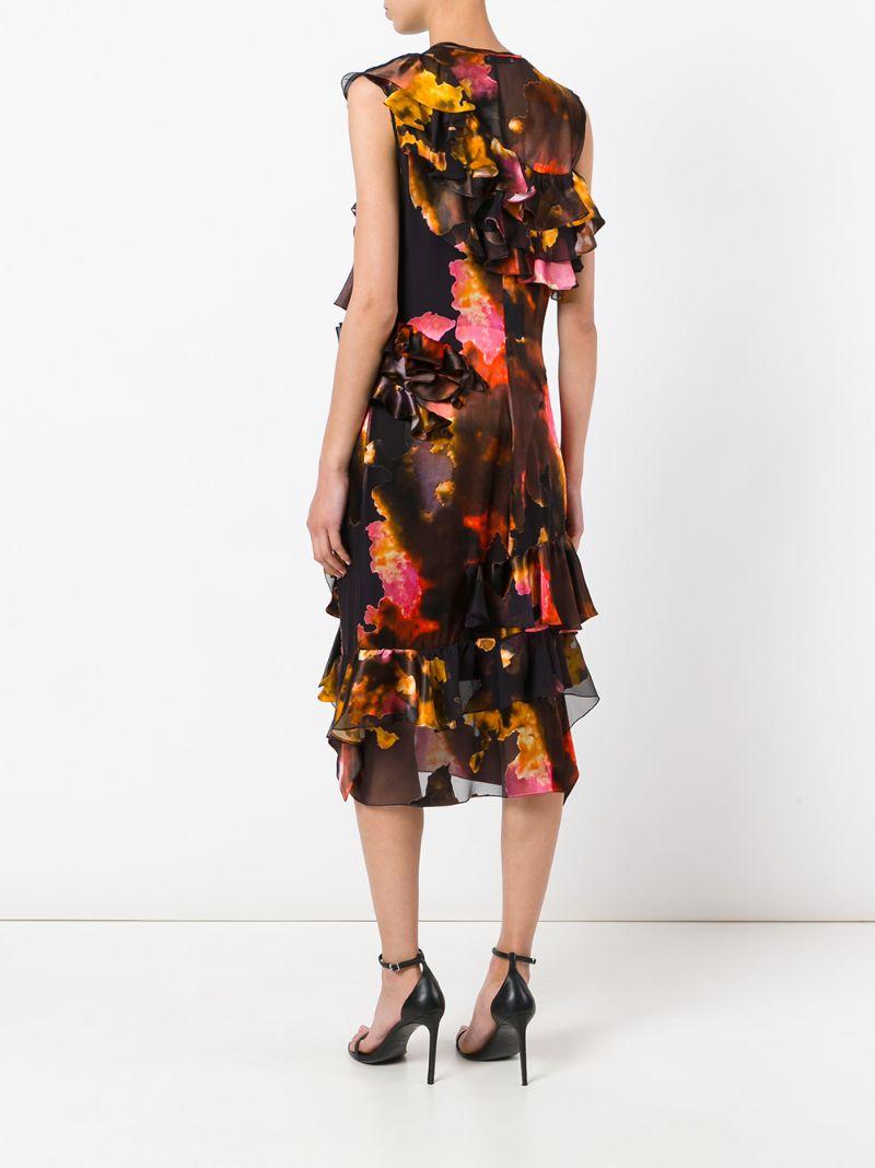 GIVENCHY | Многоцветный платье с разноцветными рюшами Givenchy | Clouty