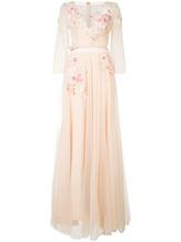 Marchesa Notte | длинное платье с цветочной вышивкой  Marchesa Notte | Clouty