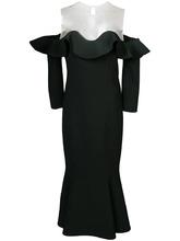 Oscar De La Renta | расклешенное платье с открытыми плечами и оборкой  Oscar de la Renta | Clouty
