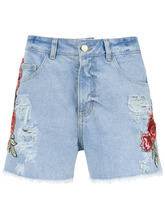 Martha Medeiros | embroidered patches jeans shorts Martha Medeiros | Clouty