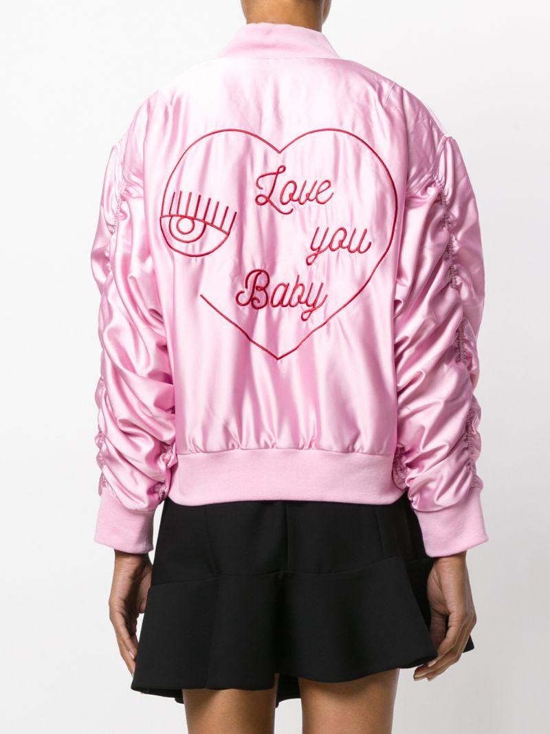 Бомбер с вышивкой розовый 40