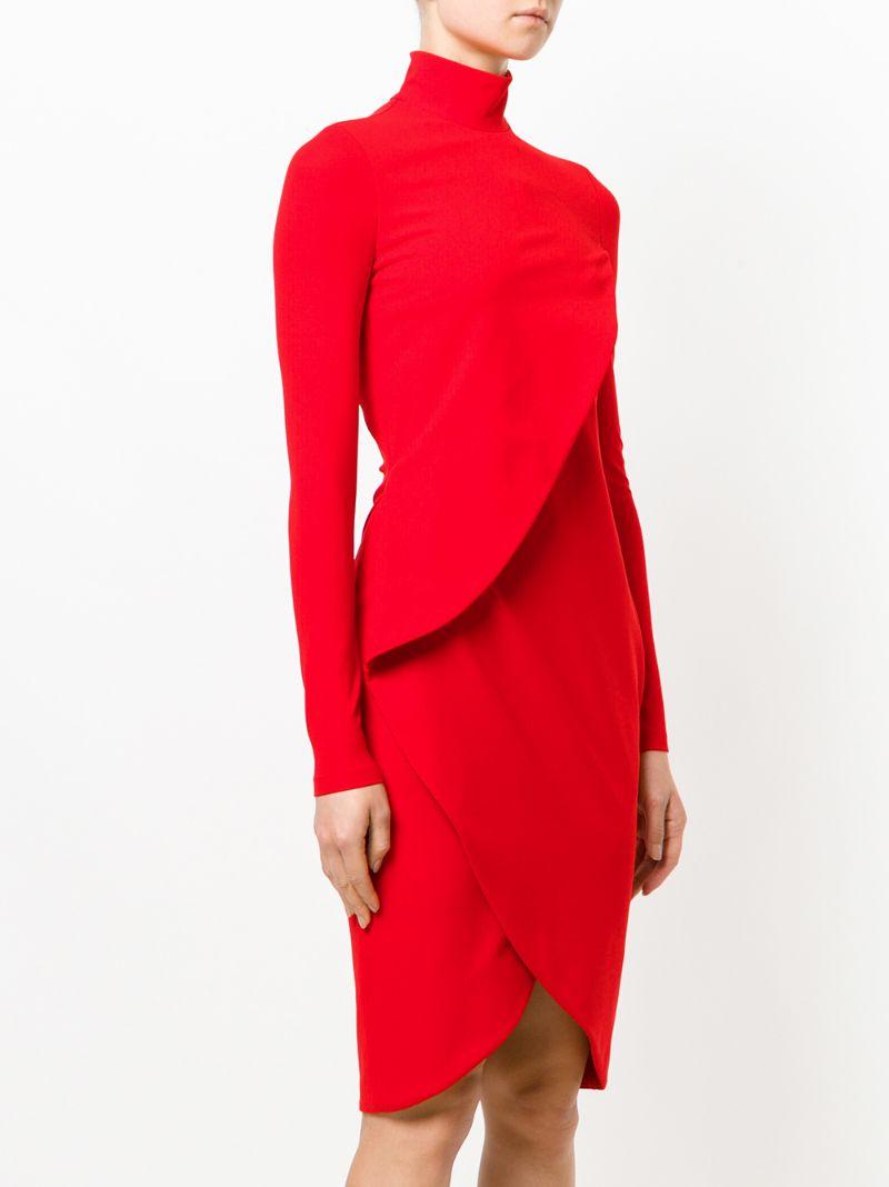 GIVENCHY | Красный многослойное приталенное платье Givenchy | Clouty