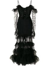 Alessandra Rich | расклешенное сетчатое платье с оборками  Alessandra Rich | Clouty