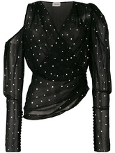 Magda Butrym | блузка в горошек с открытым плечом  Magda Butrym | Clouty