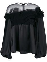 GIVENCHY | расклешенная блузка с полупрозрачной вставкой  Givenchy | Clouty