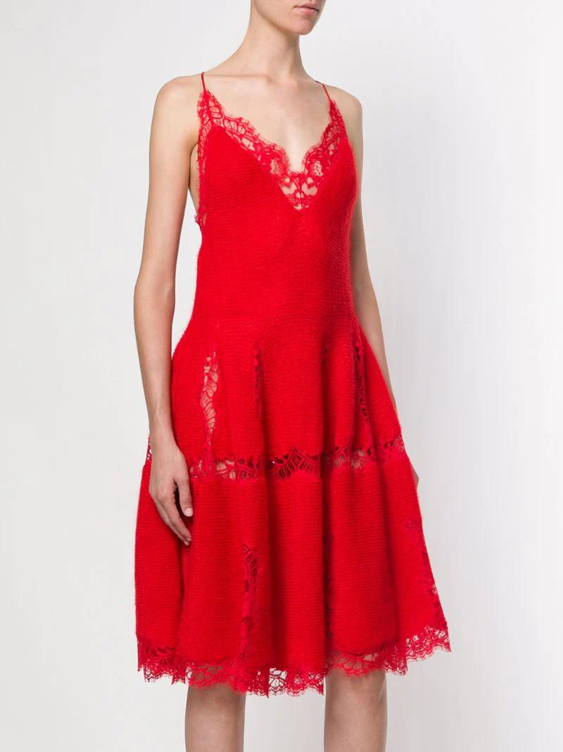 GIVENCHY | Красный трикотажное платье с кружевной отделкой  Givenchy | Clouty
