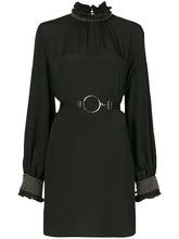 John Richmond | платье с высокой горловиной и заклепками на рукавах | Clouty