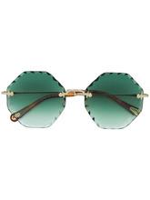 Chloé | круглые солнцезащитные очки с отделкой по краю | Clouty