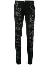 John Richmond | джинсы скинни с украшением из страз | Clouty