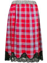 Semicouture | клетчатая юбка с кружевной оторочкой | Clouty