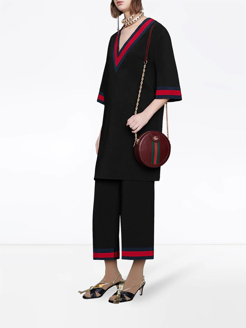 GUCCI   платье с V-образным вырезом   Clouty