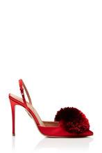 Aquazzura | Красные туфли с помпоном Powder Puff Sling 105 | Clouty