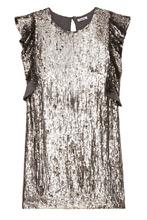 P.A.R.O.S.H. | Серебристое платье с оборками на рукавах | Clouty