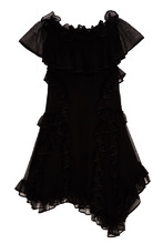 Alexander McQueen   Черное шелковое платье с оборками   Clouty