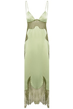 Off-White | Зеленое атласное платье с кружевом | Clouty