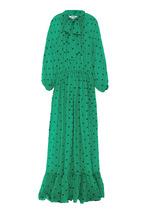 MSGM | Зеленое шелковое платье в горошек | Clouty