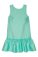 t-skirt | Бирюзовое мини-платье с оборкой | Clouty