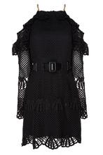 Self-Portrait | Черное ажурное платье с люверсами | Clouty