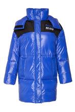 MIU MIU | Синее стеганое пальто с логотипом | Clouty
